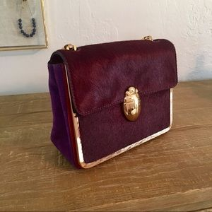 Tory Burch calf hair and suede bag w/ gold scarab
